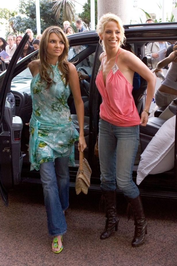 Nadine Coyle and Sarah Harding getting out of a car