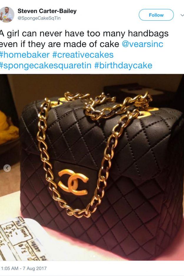 Steven Carter-Bailey shared this stunning Chanel bag cake on Twitter