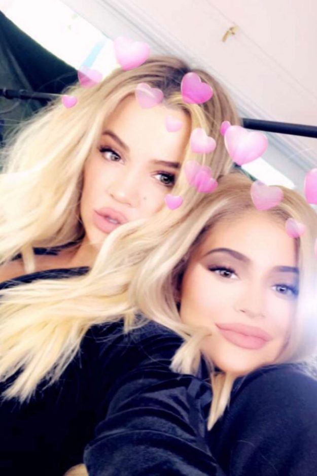 Khloe Kardashian and Kylie Jenner pose together on Snapchat