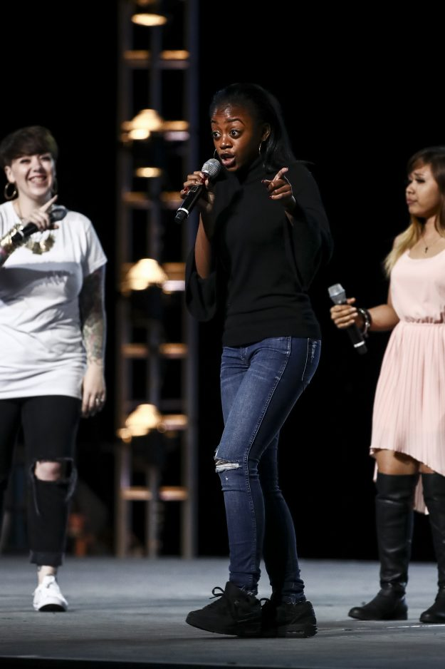 This image and the information contained herein is strictly embargoed until 00.01 Saturday 30th September 2017 From Syco / Thames The X Factor: SR14: Ep9: Bootcamp on ITV Pictured: Natalie Lomax, Rai-Elle and Alisah Bonaobra. This photograph is (C) Syco / Thames and can only be reproduced for editorial purposes directly in connection with the programme or event mentioned above, or ITV plc. Once made available by ITV plc Picture Desk, this photograph can be reproduced once only up until the t