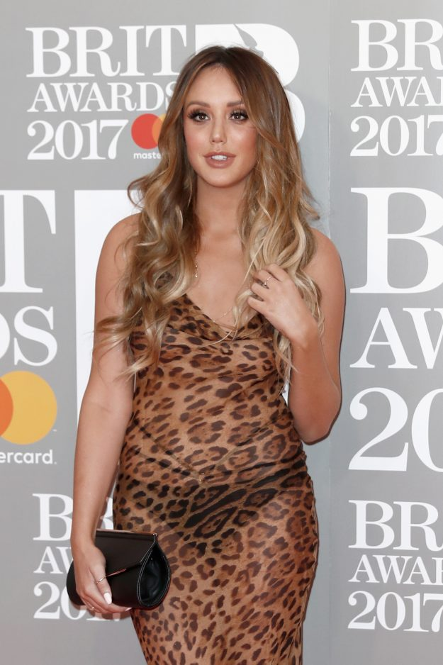 Charlotte Crosby wears leopard print dress at The BRIT Awards in February this year