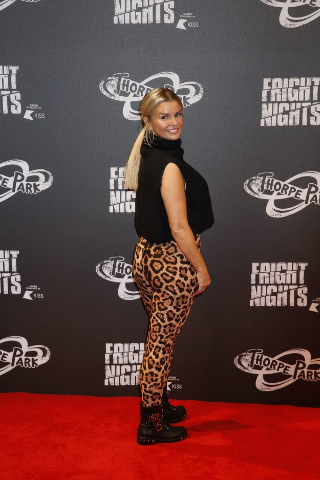Kerry Katona attends the Thorpe Park Fright Night 2018 in Chertsey, UK, wearing a black tank top and animal print leggings.    Pictured: Kerry Katona  Ref: SPL5030599 041018 NON-EXCLUSIVE  Picture by: Andy Barnes / SplashNews.com    Splash News and Pictures  Los Angeles: 310-821-2666  New York: 212-619-2666  London: 0207 644 7656  Milan: +39 02 4399 8577  Sydney: +61 02 9240 7700  photodesk@splashnews.com    World Rights,