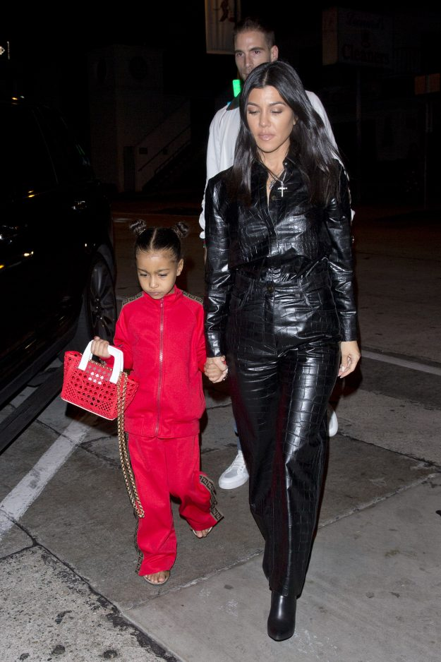 Kourtney Kardashian in full skin for dinner with daughter Kim North West at Craig Restaurant in West Hollywood, CA Pictured: North West Kardashian, Kourtney Kardashian Ref: SPL5054842 120119 NON EXCLUSIVE Image by: SPW / SplashNews.com Splash News and Pictures Los Angeles : 310-821-2666 New York: 212-619-2666 London: 0207 644 7656 Milan: 02 4399 8577 photodesk@splashnews.com World Rights,
