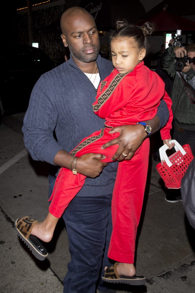 Kim Kardashian and Kanye West's 5-year-old daughter, North West-Kardashian wear a 1000 Fendi Kids Track suit and $ 400 FENDI KIDS Motif slides for dinner at Craigs Restaurant with grandma Kris Jenner and Aunt Kourtney Kardashian in West Hollywood, CA In the picture: Kris Jenner, North West, Kourtney Kardashian, Corey Gamble Ref: SPL5054860 120119 NON EXCLUSIVE Picture of: SPW / SplashNews.com Splash News and photos Los Angeles: 310-821-2666 New York: 212-619-2666 London: 0207 644 7656 Mil