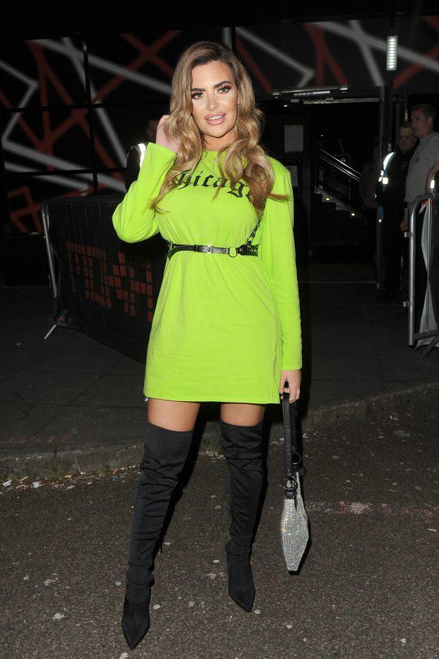Megan Barton Hanson arrives at the Shooshh nightclub in Brighton, wearing a lime green dress. Characterized by: Megan Barton Hanson Where: London, United Kingdom When: Apr 22, 2019 Credit: Will Alexander / WENN.com