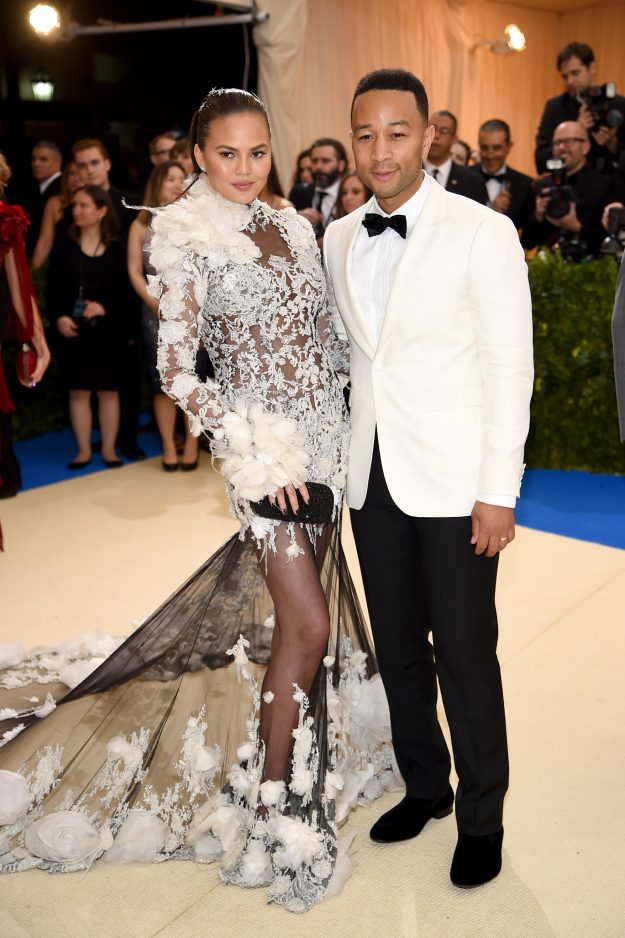 John Legend and Chrissy Teigen coordinate their outfits