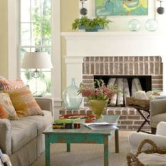 Small Living Room Ideas With Brick Fireplace Beach Themed Rooms Fireplaces Casually Coordinated
