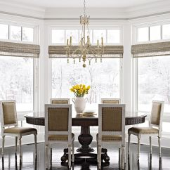 Window Treatment Ideas For Living Room White Futon Bay And Bow Dining With Woven Shades On Windows
