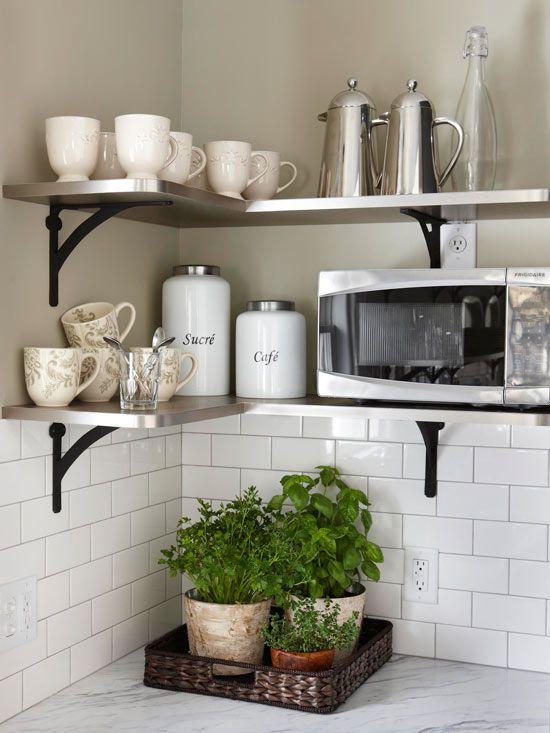 kitchen shelves ideas cabinet lighting open storage stainless steel