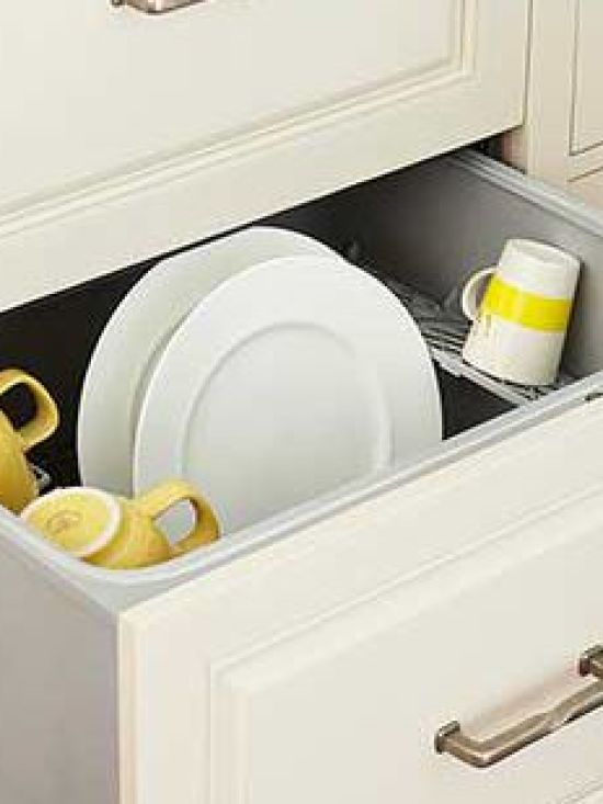 When these drawers are close to the dishwasher, it is super-convenient to remove dishes from the washer and store them in an organized fashion inside the drawers.