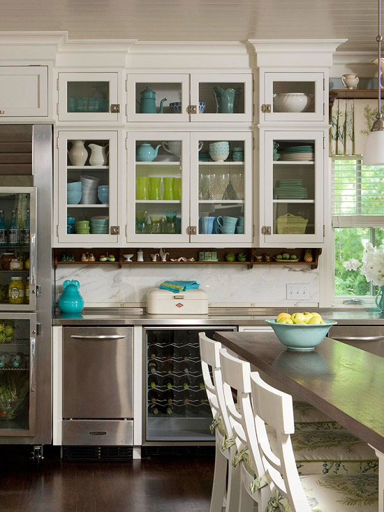white kitchen cabinets glass doors faucets amazon stylish ideas for cabinet colored dishes in use