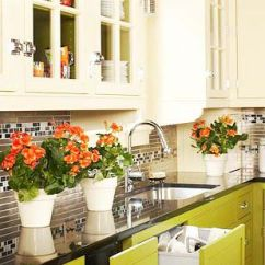 Green Kitchen Cabinets High Table Warm And Lively