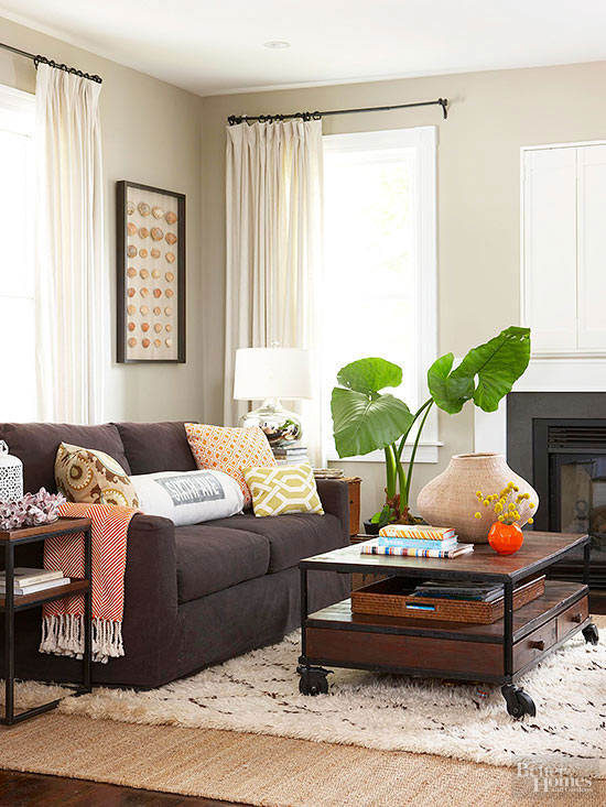 colour scheme for living room with dark brown sofa drapery ways to decorate a