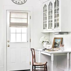 Kitchen Desk Ideas Facelift Workstation Built In By Entry Way Glass Door Storage Cabinets Above