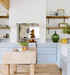 bright kitchen with powder blue lower cabinets [ 1773 x 1280 Pixel ]