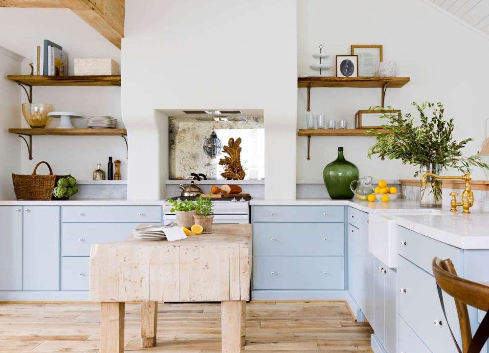 medium resolution of bright kitchen with powder blue lower cabinets