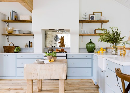 small resolution of bright kitchen with powder blue lower cabinets