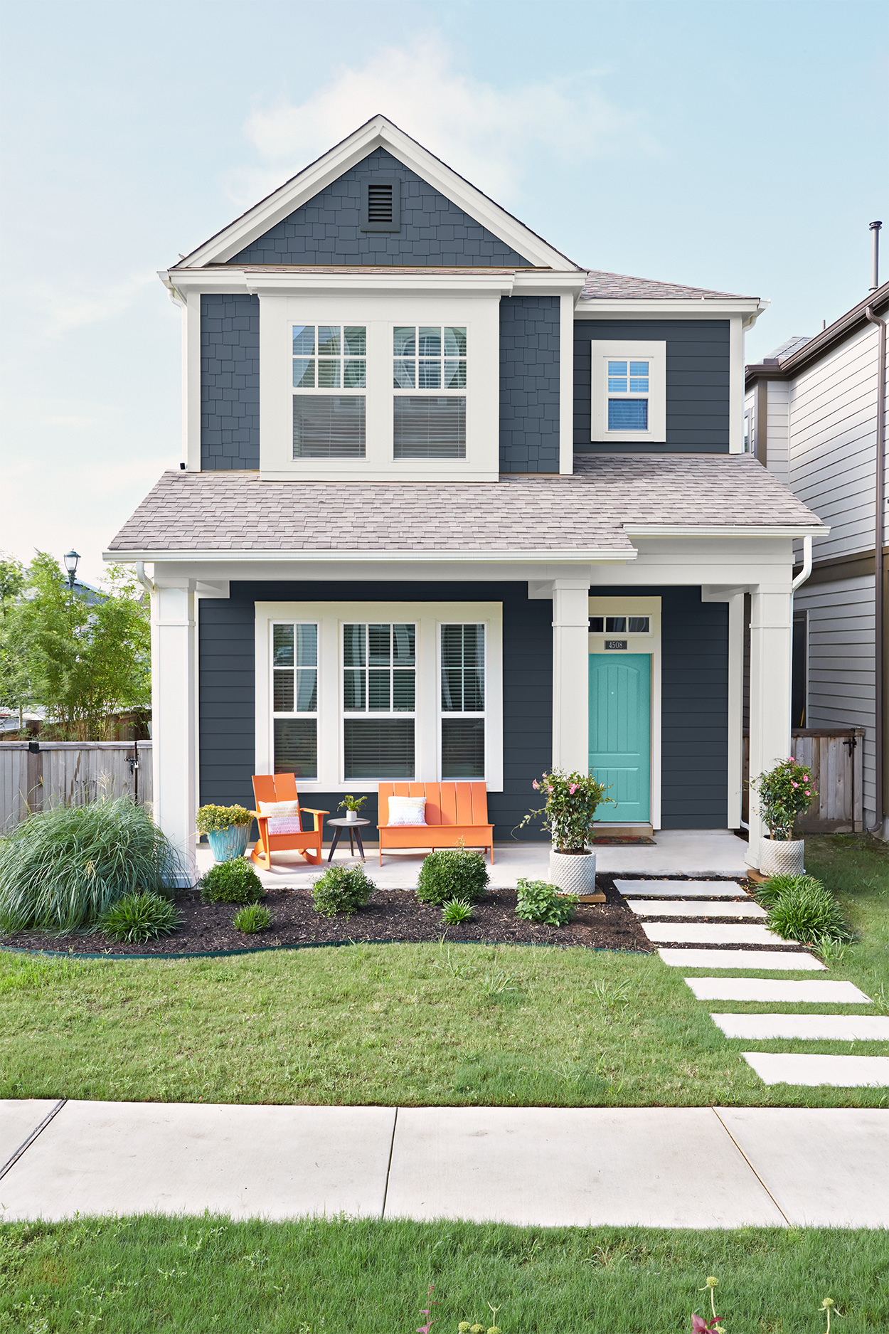 Navy Blue House With White Trim