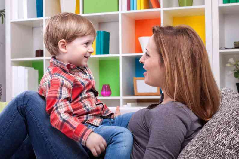 Image result for boy talking to mom