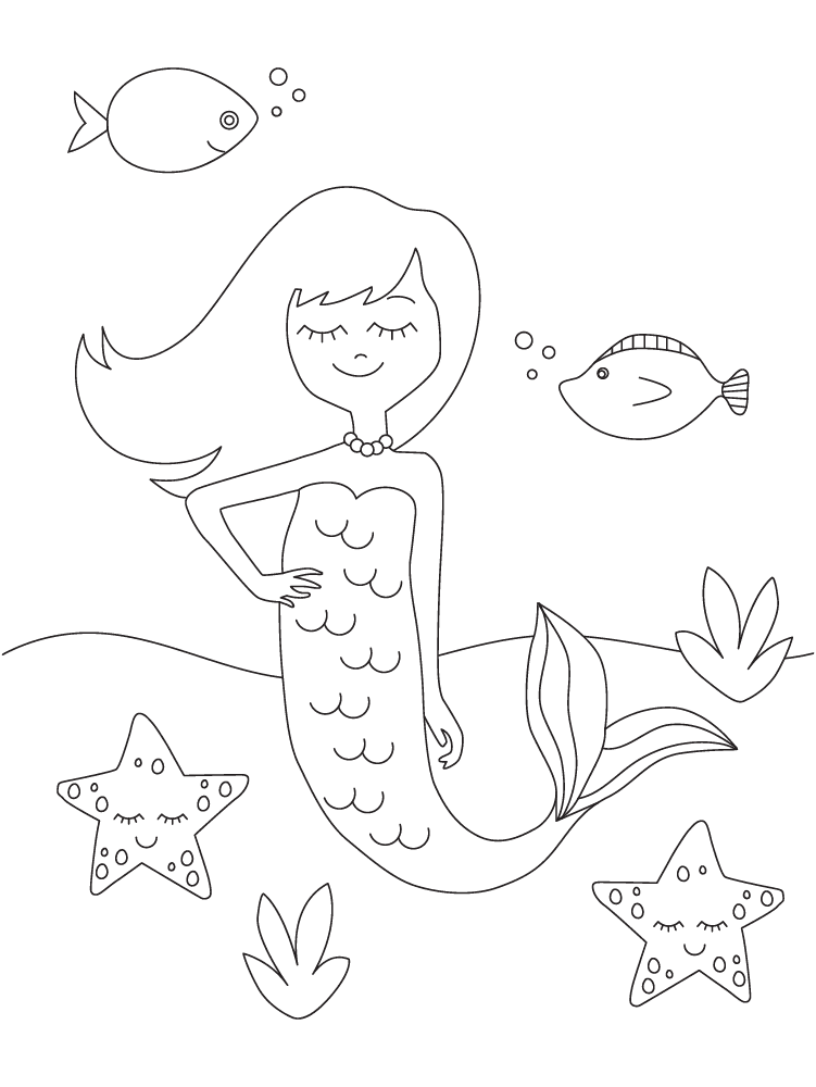 30+ mermaid coloring pages: Free fantasy printables