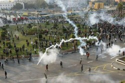 Eyptian Police Fire Tear Gas at Crowds