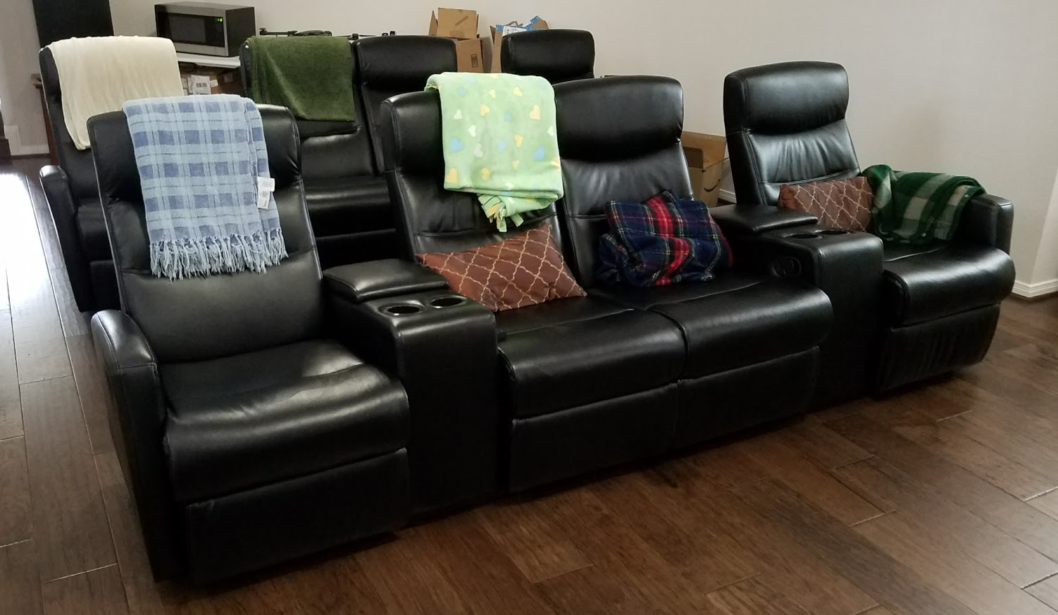 home theater leather sofa u shaped set designs review flash furniture 4 seat black