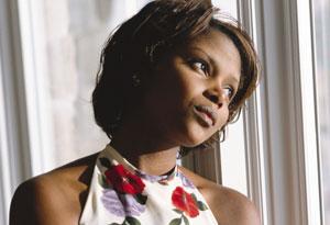 woman gazing out window