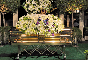 Michael Jackson's casket at his private funeral