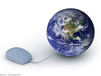 Mouse connected to Planet Earth