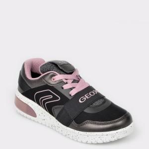 Pantofi sport GEOX negri, J928DA, din piele ecologica, fetite