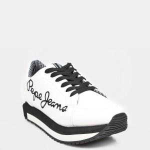 Pantofi sport PEPE JEANS albi, LS30907, din piele ecologica