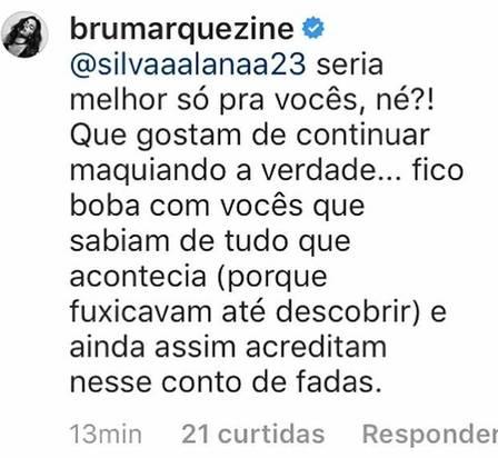 Bruna Marquezine responde a fã que não se conforma com o fim do relacionamento com Neymar (Foto: Reprodução/Instagram)