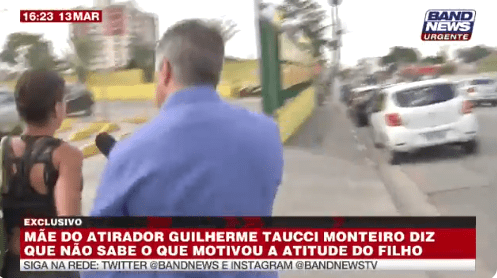 Repórter da BandNews é criticado em cobertura do caso de Suzano por forçar entrevista (Foto: Reprodução)