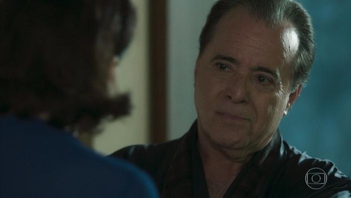 Olavo (Tony Ramos) e Valentina (Lília Cabral) em cena de O Sétimo Guardião (Foto: Reprodução/Globo)