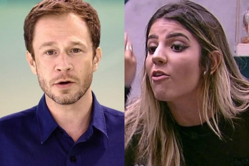 Tiago Leifert e Hariany na Globo (Foto: Reprodução)