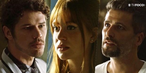 Luz (Marina Ruy Barbosa) decidirá a vida ou a morte com Junior (José Loreto) e Gabriel (Bruno Gagliasso) em O Sétimo Guardião (Foto: Reprodução/Globo/Montagem/TV Foco)