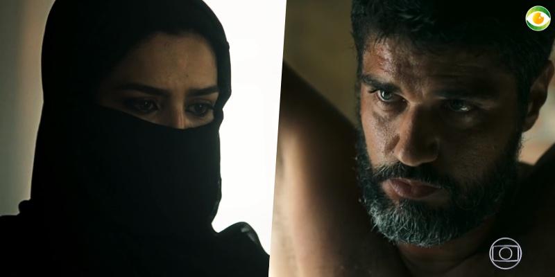 Soraia (Letícia Sabatella) e Hussein (Bruno Cabrerizo) se amam em Órfãos da Terra