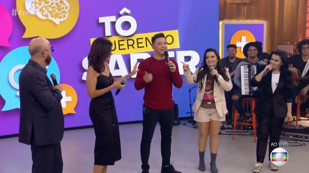 Maiara e Maraisa e o cantor Wesley Safadão participaram do programa Encontro com Fátima Bernardes na Globo. Foto: Reprodução