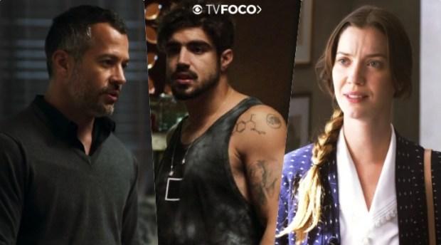 Agno (Malvino Salvador), Rock (Caio Castro) e Fabiana (Nathalia Dill) em A Dona do Pedaço da Globo (Foto: Reprodução/Globo/Montagem/TV Foco)