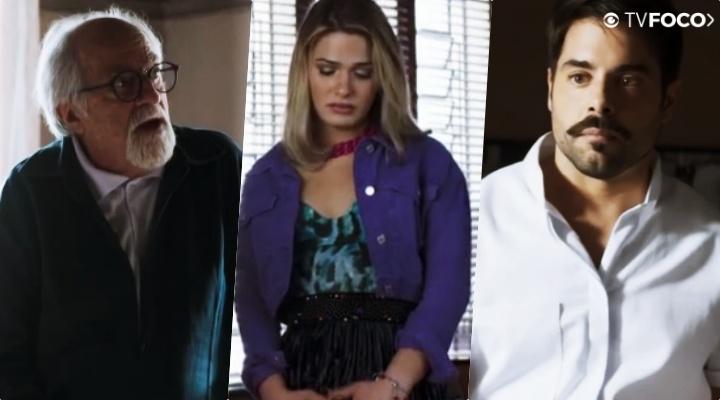 Antero (Ary Fontoura), Britney (Glamour Garcia) e Abel (Pedro Carvalho) são personagens de A Dona do Pedaço da Globo
