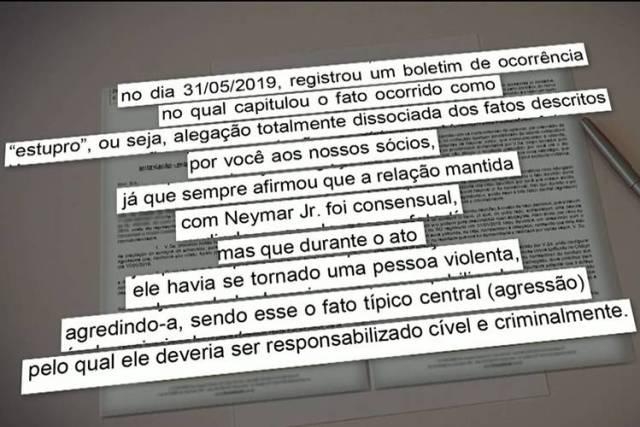 Jornal Nacional exibiu trechos da carta do ex-advogado de Najila Trindade, que acusa Neymar de estupro (Reprodução: TV Globo)