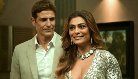 Régis (Reynaldo Gianecchini) e Maria da Paz (Juliana Paes) em A Dona do Pedaço da Globo