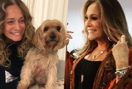 Susana Vieira causou profundo choque ao aparecer sem maquiagem em foto com o cachorro dela (Foto reprodução)