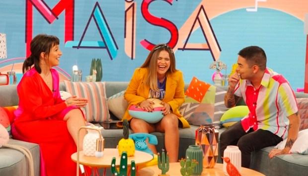 Yudi Tamashiro e Priscilla Alcântara em entrevista a Maisa Silva (Foto: Gabriel Cardoso/SBT)