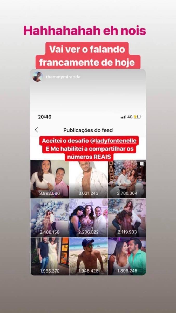 Thammy Miranda exibe número de likes em sua conta do Instagram Foto: Reprodução/Instagram