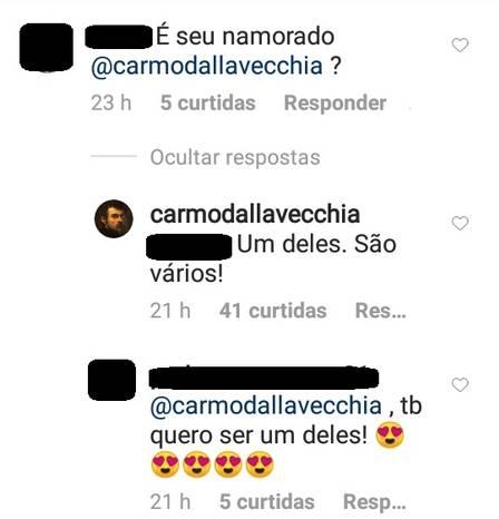 Carmo Dalla Vecchia é questionado sobre namorado (Imagem: Instagram)