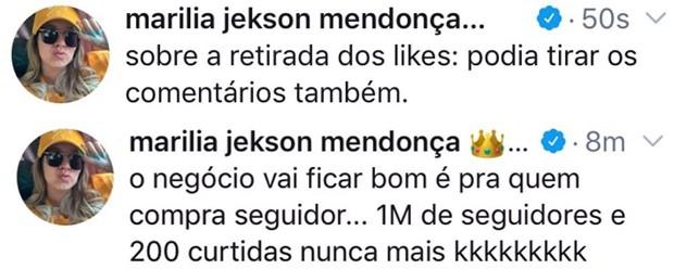 Marília Mendonça alfineta após teste de fim da exibição de comentários no Instagram (Foto: Reprodução/Twitter)
