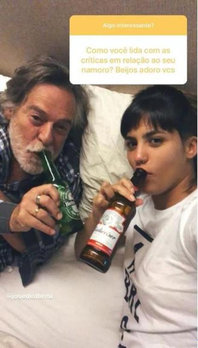 Carol Junger mostra como enfrenta as críticas de seu relacionamento com José de Abreu (imagem: Instagram)