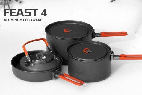 """Набор походной посуды Fire-Maple """"Feast 4"""", цвет: металлик, оранжевый, 8 предметов"""