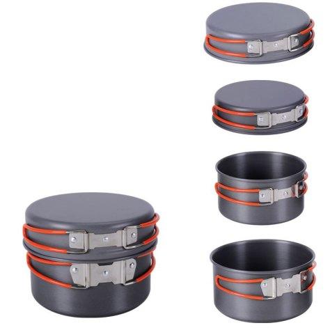 """Набор походной посуды """"Fire-Maple"""", цвет: металлик, оранжевый, 10 предметов"""
